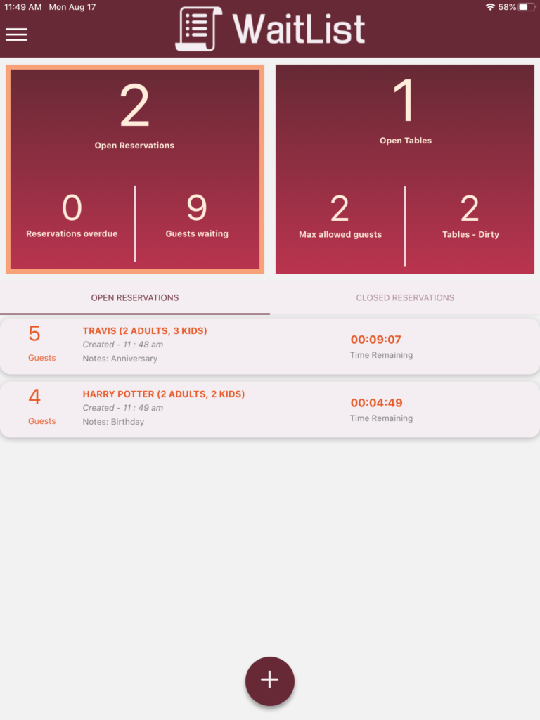 WaitList App Dashboard